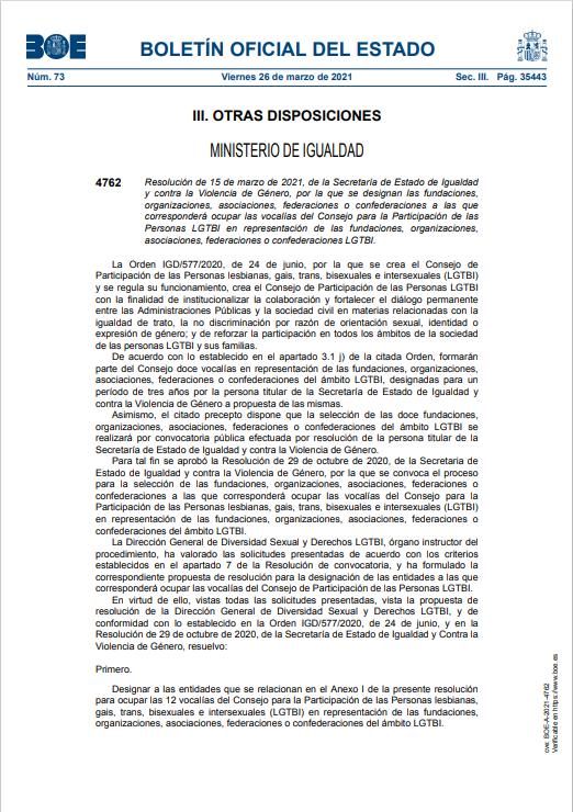 Página 1 que muestra el Boletín Oficial del Estado